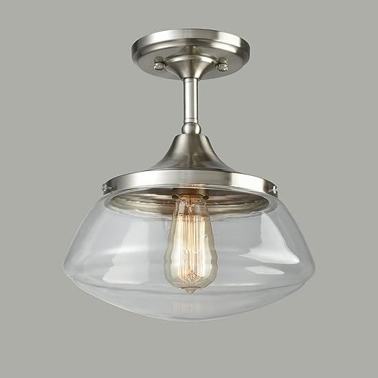 CLAXY Ecopower Industrial Modern Schoolhouse Ceiling Light Brushed Nickel Semi-Flush Mount Light Fixture
