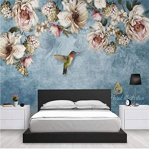 Duleen 3D Mural Wallpaper Custom Made Decoration European Style Hand Painted Flowers Birds Oil Painting Bed Wall Sticker 400Cmx300Cm|157.48(in) ()
