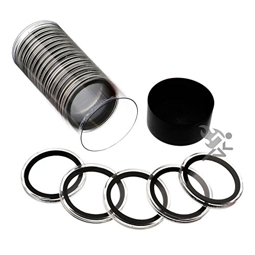 Black Lid Capsule Tube & 20 Air-Tite 40mm Black Ring Coin Holders for 1oz Silver Eagles by OnFireGuy