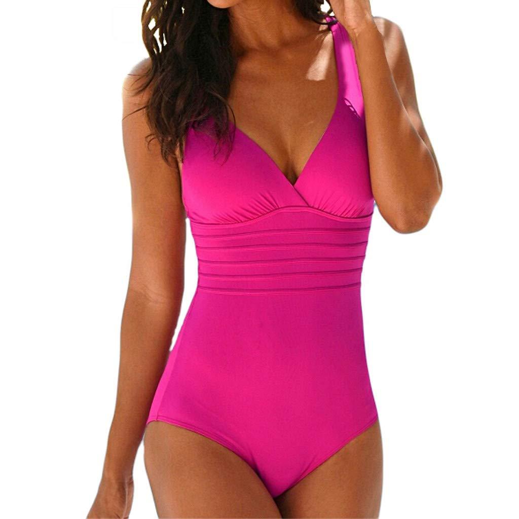Einfarbig Schlinge Bikini EIN Stück Badeanzug Damen Sommer rückenfrei sexy Badeanzug Strandkleidung Badebikini-Set URIBAKY