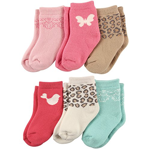 Luvable Friends Baby Basic Socks, 6 Pack, Pink Butterfly, 6-12 Months