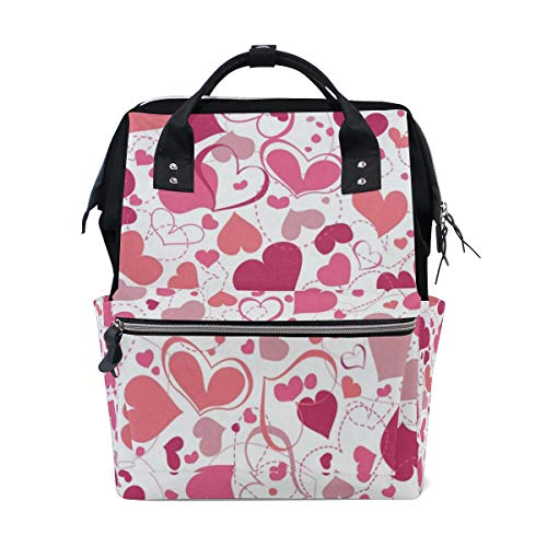 Diaper Bags Valentines Day Pink Heart Love You Spring Wedding Fashion Mummy Backpack Multi Functions Large Capacity Nappy Bag Nursing Bag for Baby Care for Traveling