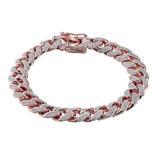 Rose Gold Finish Miami Cuban Bracelet 925 Sterling Silver Iced Out Lab Diamonds 12mm by Master Of Bling