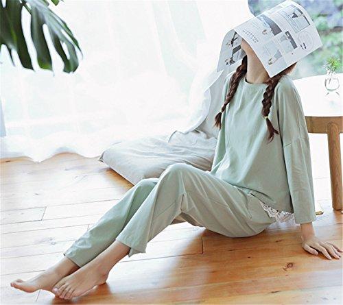 Casual clothing COCO Autunno Lunga Chic Pigiama Cotone Primavera Sleepwear Pigiami Manica Donna Maglie due pezzi a Casa wYTxTrHdq