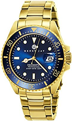 "Henry Jay Mens 23K Gold Plated Stainless Steel ""Specialty Aquamaster"" Professional Dive Watch by Henry Jay------------ kinetic fossil movado citizen timex bulova tissot seiko Hamilton luminox victorinox swiss army rolex replica tag heuer omega casio"