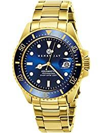 "Mens 23K Gold Plated Stainless Steel ""Specialty Aquamaster"" Professional Dive Watch"