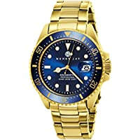 "Henry Jay Mens 23K Gold Plated Stainless Steel ""Specialty Aquamaster"" Professional Dive Watch"