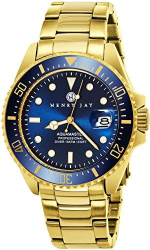 "Henry Jay Mens 23K Gold Plated Stainless Steel ""Specialty Aquamaster"" Professional Dive Watch (Watches Replica)"