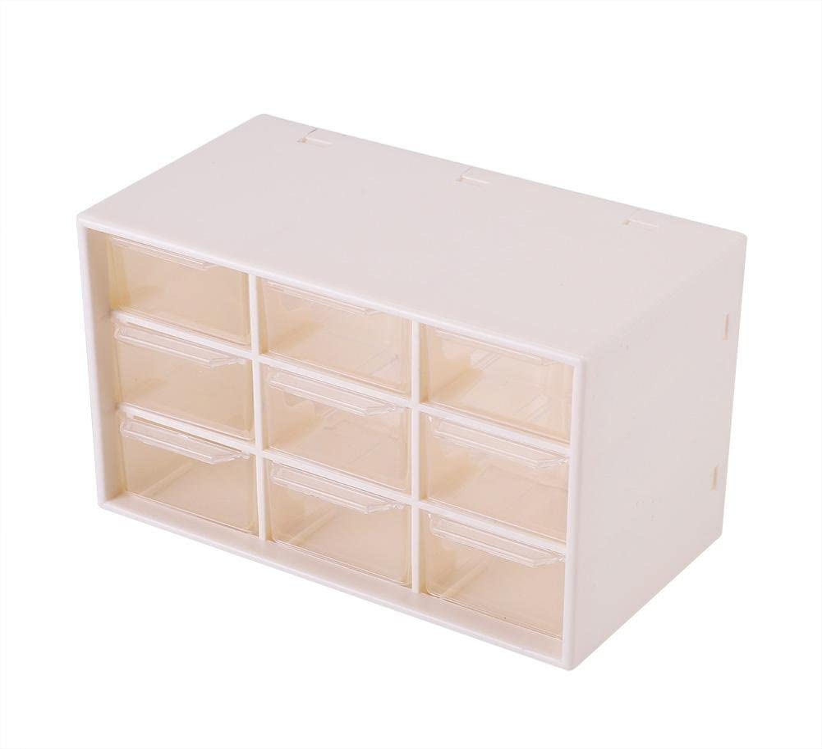 Yosooo 9 Drawer Desktop Storage Portable Plastic 9 Lattice Mini Cabinets Drawer Jewelry Cosmetic Storage Box(White)