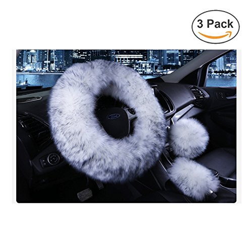 Younglingn Car Steering Wheel Cover Gear Shift Handbrake Fuzzy Cover 1 Set 3 Pcs Multi-colored with Winter Warm Pure Wool Fashion for Girl Women Ladies Universal Fit Most Car(White + gray)