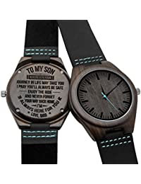 Engraved Wooden Watches Personalized Gifts for Son,...
