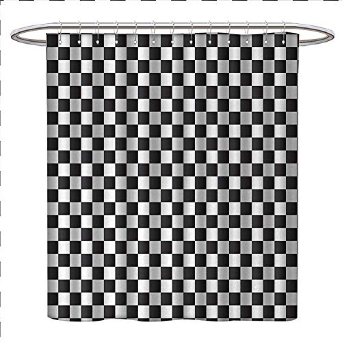 Anniutwo Checkered Shower Curtain Customized Monochrome Composition with Classical Chessboard Inspired Abstract Tile Print Patterned Shower Curtain W69 x L70 Black ()