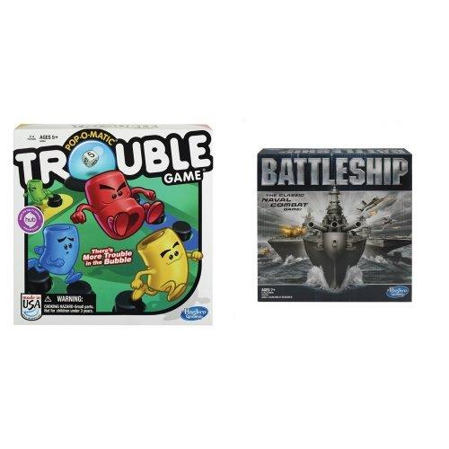 Hasbro Trouble Game and Battleship Game Bundle