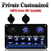 FXC Customized 6 Gang Rocker Switch Panel with Digital Voltmeter+12V power Socket +Double USB Power Charger Adapter Waterproof Blue LED Backlight for Car Trailer Marine Boat
