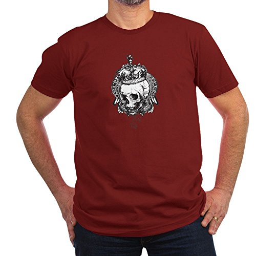 Royal Lion Men's Fitted T-Shirt (Dark) Dead King Skull Crown - Cranberry, 2X
