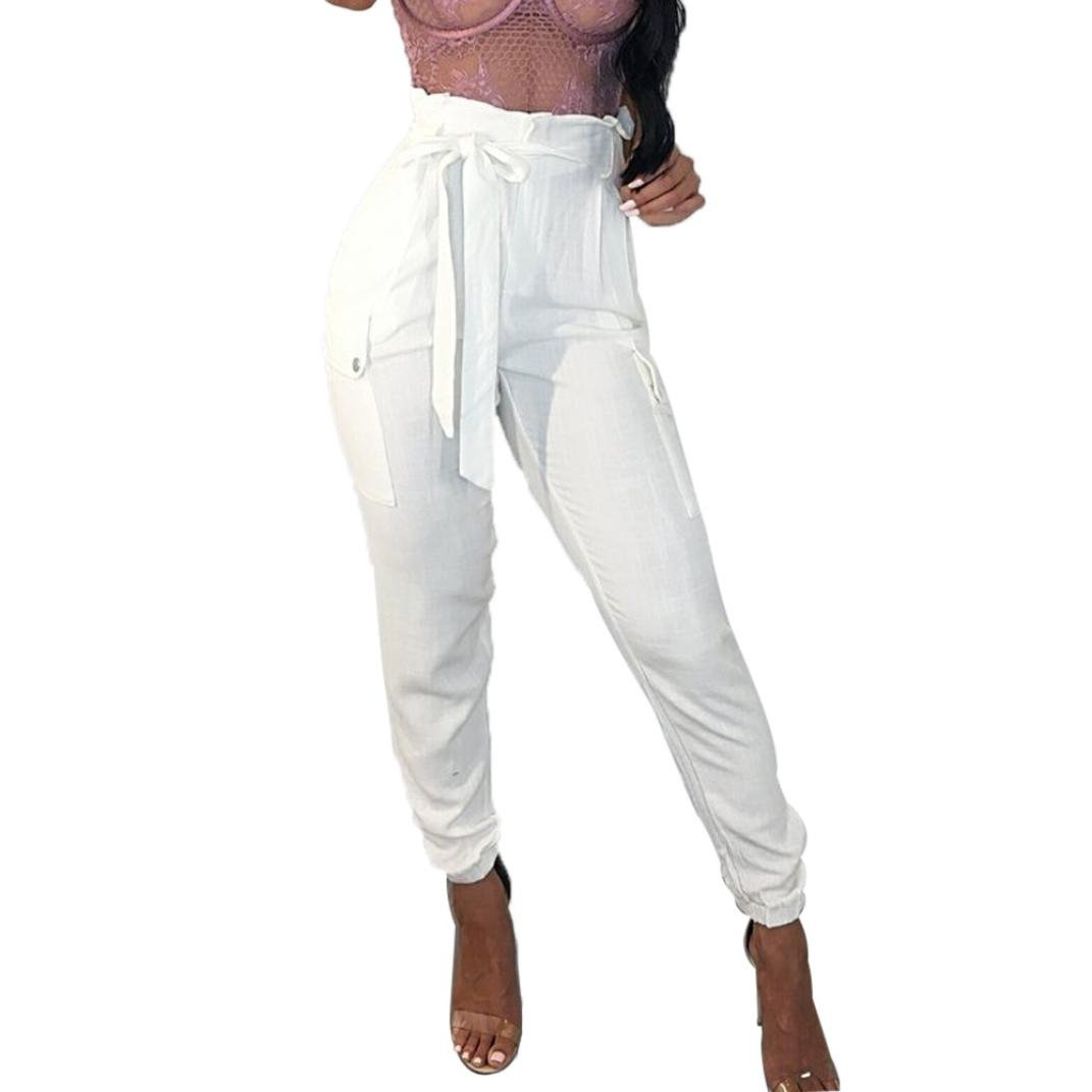 vermers Womens Harem Trousers Women Sexy High Waist Fashion Wide Casual Leg Summer Beach Pocket Pants(XL, White)