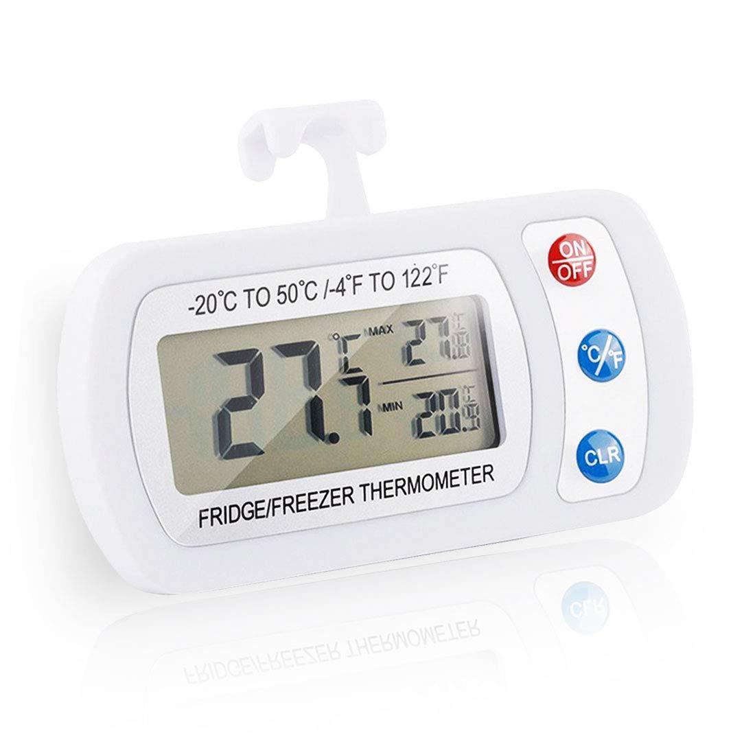 Impermeable Digital Termómetro,Termómetro para Frigoríficos,Termómetro LCD Inalámbrico -Blanco