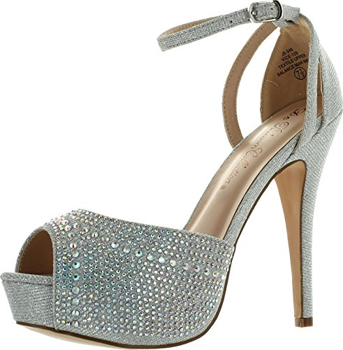 Blossom Womens Vice-126 Bridal Formal Evening Party Ankle Strap High Heel Peep Toe Glitter Sandal,Silver,10 ()