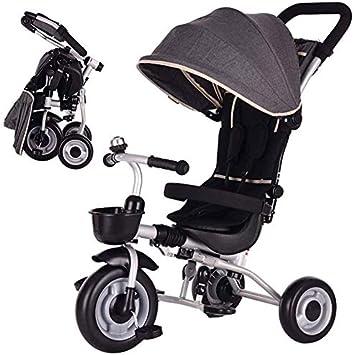 JINHH Cerca del Triciclo, Bicicleta Plegable Kid Carretilla con La Seguridad De Los Niños del Hogar del Coche Y del Carro del Recorrido Al Aire Kid (Color: Gris)