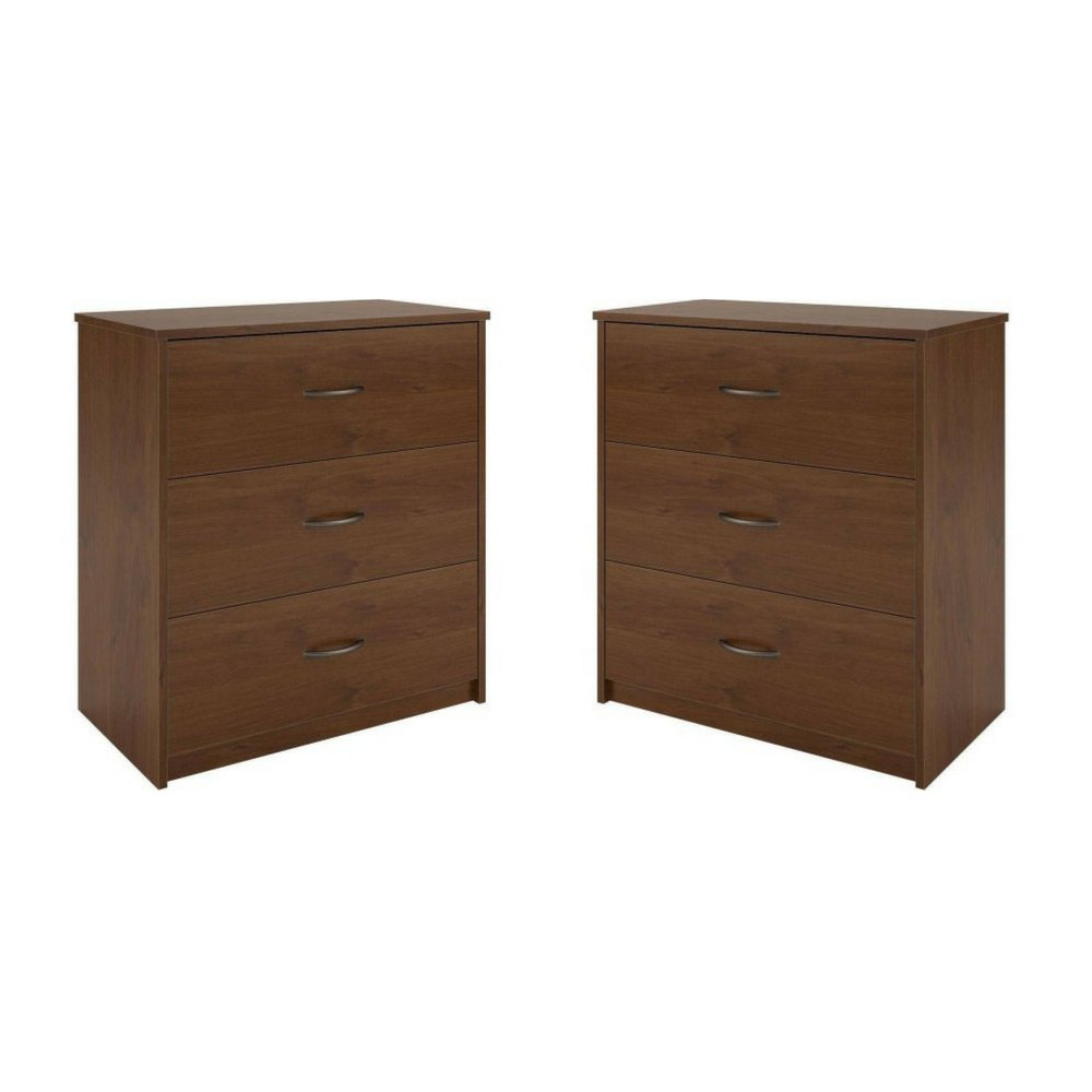 Mainstays 3-Drawer Dresser 3 easy-glide drawers, Set of 2 (Brown Oak) by Mainstay* (Image #1)