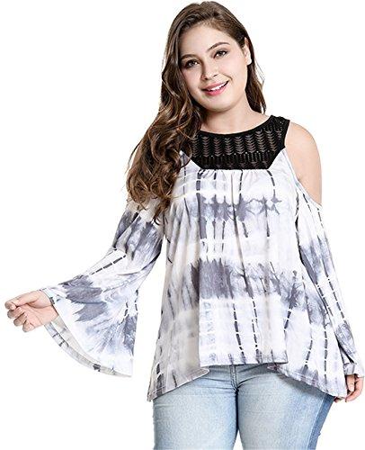 Arctic Cubic Plus Size Cold Open Shoulder Lace Spliced Tie Dye Blouse Shirt T-Shirt Top Black White XL