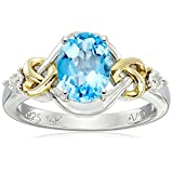 Love Knot Sterling Silver and 14k Yellow Gold  Swiss Blue Topaz  and Diamond Ring, Size 5