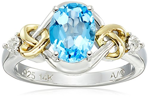 Gold Swiss Cut Ring - Love Knot Sterling Silver and 14k Yellow Gold  Swiss Blue Topaz  and Diamond Ring, Size 8