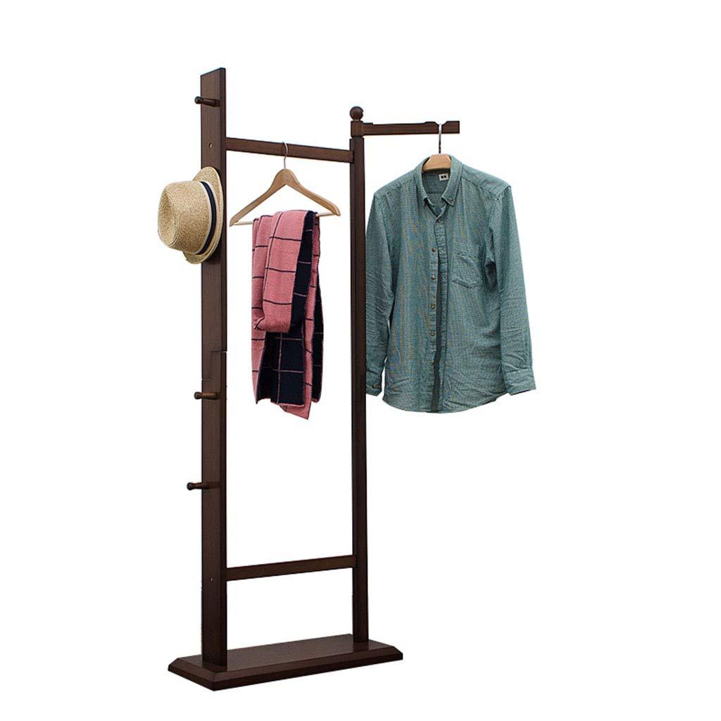 服装コートラック、収納ラック収納棚ユニット収納靴及び衣類用木製品茶色 フックの服   B07JB4YRM8