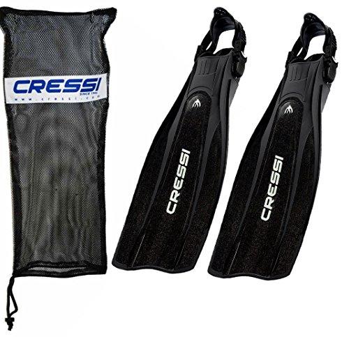 Cressi Pro Light Open Heel Diving Fin with Bag, Black Large