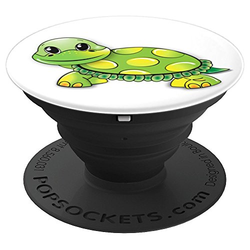 Cute Happy Turtle Green Yellow PopSockets Grip - PopSockets Grip and Stand for Phones and Tablets