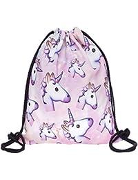 """Print Drawstring Backpack Rucksack Shoulder Bags Gym Bag (Animals,foods)15""""x11"""""""