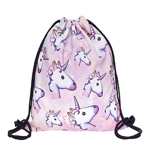 Print Drawstring Backpack Rucksack Shoulder Bags Gym Bag (Animals,foods,skd90)15'x23'