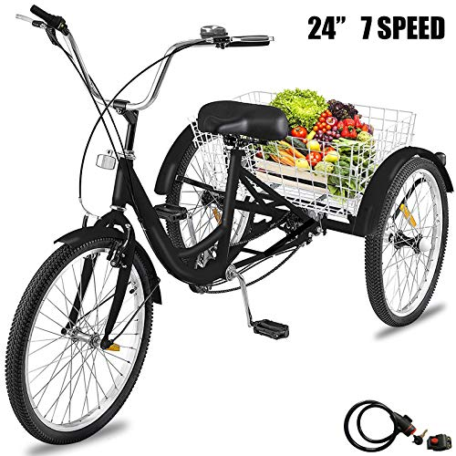 Happybuy Adult Tricycle 7 Speed Three Wheel Bike Cruise Bike 24inch Adjustable Trike with Bell Brake System and Basket Large Size for Shopping (24inch Black 7 Speed) (Best 3 Wheel Bike For Adults)