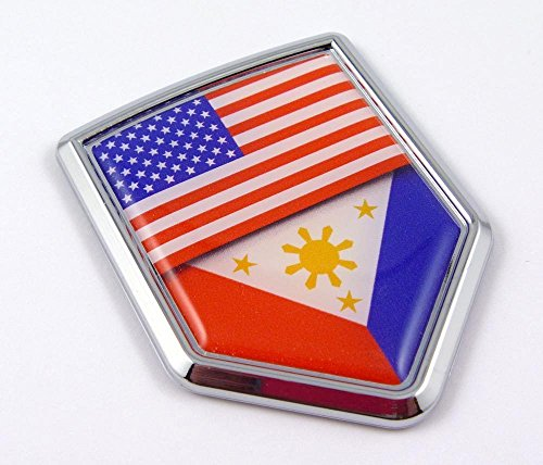 USA Philippine Philippinian American Flag Car Chrome Emblem Decal Sticker