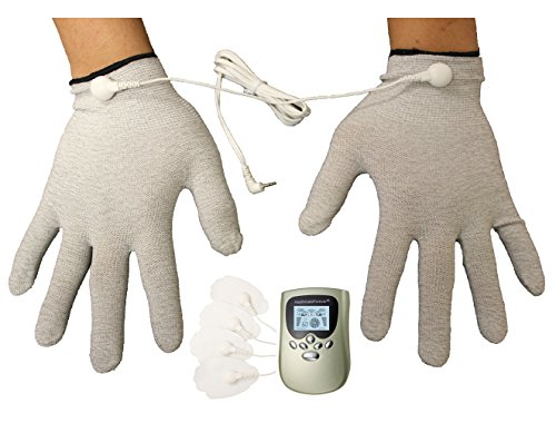 8 Modes Best Portable Electro Pain Relief Massage Therapy Machine + conductive hand massager gloves for carpal tunnel therapy | hand thumb arthritis pain relief gloves for diabetes neuropathy wrist finger cramp pain relief LIFETIME WARRANTY! FDA CLEARED HealthmateForever PM8 (Green)