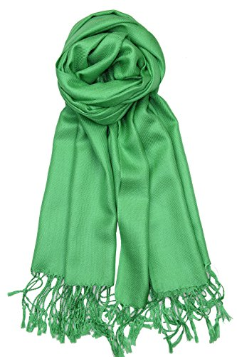 Achillea Large Soft Silky Pashmina Shawl Wrap Scarf in Solid Colors (Kelly Green) (Woven Plain Scarf)