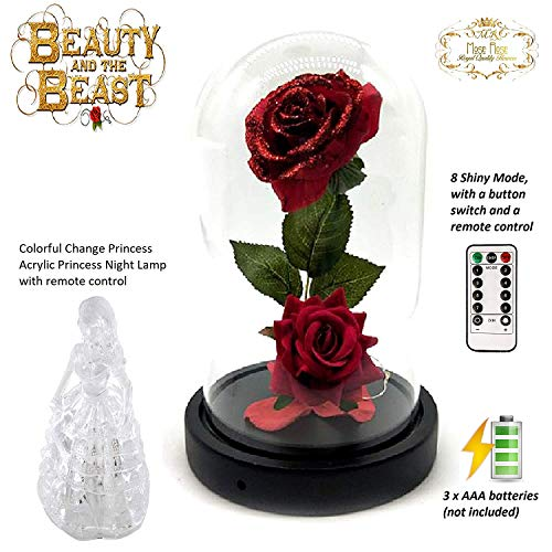 Beauty and The Beast Rose kit Enchanted and Led Light with Fallen Petals in Glass Dome on Wooden Base Gift for Valentines Day Christmas Home Decor Party Wedding Anniversary