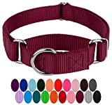 Country Brook Design | Martingale Heavyduty Nylon Dog Collar - Burgundy - Extra Large