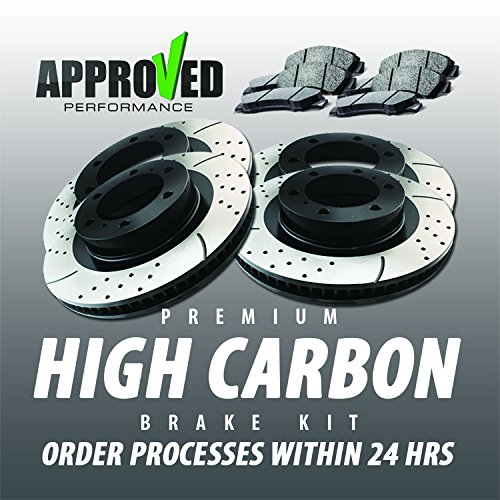 Approved Performance HCE7206PF Front & Rear Brake Kit Premium High Carbon Alloy Drilled and Slotted Brake Rotors with High Carbon Ceramic Brake Pads, 01, 02, 03, 04, 05, 06 BMW ()