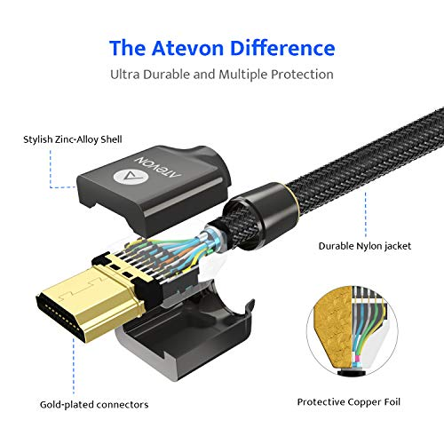 4K HDMI Cable 6ft - Atevon High Speed 18Gbps HDMI 2.0 Cable - HDR 4K@60Hz, 2K@165Hz, 2160P, 1080P, 3D, Ethernet - Braided HDMI Cord - Audio Return(ARC) Compatible UHD TV, Blu-ray, Xbox, PS4/3, PC