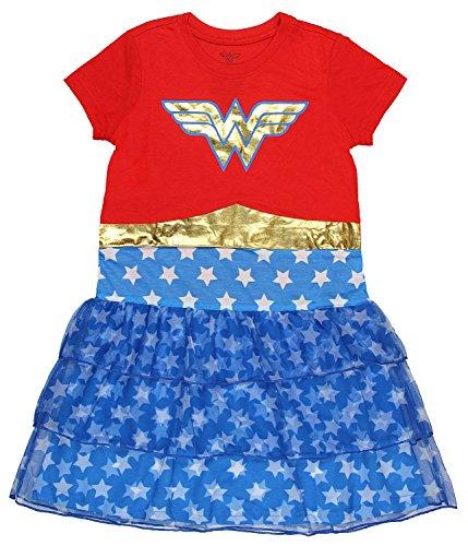 DC Comics Girls' Big Wonder Woman 'Costume Logo' Pajama Nightgown, Multi, 4/5