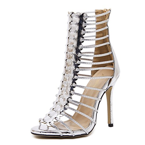 bd2496b6 Buena ZPL Mujer Sandalias Peep Toe Strappy Plataforma Estilete Verano  Señoras Tacón alto Negro romano Zapatos