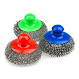 Large Stainless steel sponge with handle, Metal sponge, Metal scrubber, Stainless steel scouring pad (Pack of 3)