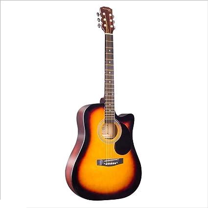 Aigliady Hechos a mano para hombres y mujeres Práctica de guitarra Guitarra acústica popular de 41 pulgadas Moda minimalista con estuche para guitarra Conjunto de correas para el hombro Cuerda Paño pa: