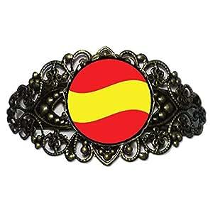 Chicforest Bronze Retro Style Spain Flag Flower Cuff Bracelet