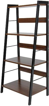 Estantería de escalera inclinada de 4 niveles Librería Librería de uso múltiple Estanterías de pared con almacenamiento en rack Unidad, Madera de acero al carbono, para baño Sala de estar Jardín: Amazon.es: