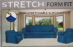 STRETCH FORM FIT - 3 Pc. Slipcovers Set, Couch/Sofa + Loveseat + Chair Covers - Navy Blue Color, Stretch Pique Fabric by Orly\'sDream