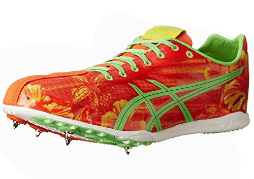 ASICS Men's Gunlap Track And Field Shoe,Red Floral/Flash Green,12 M US (Best Track Shoes For Mid Distance)