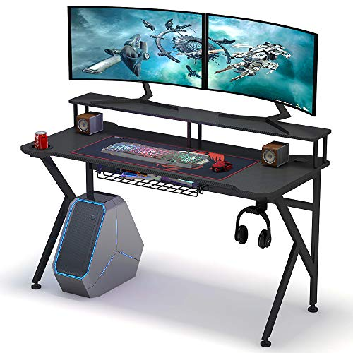 Tribesigns Gaming Desk with Monitor Riser, 55 inches Gamer Computer Desk PC Laptop Gaming Workstation with K Shaped Leg, Under-top Basket, Cup Holder & Headphone Hook for Home Use (The Best Gaming Laptop Under 300)