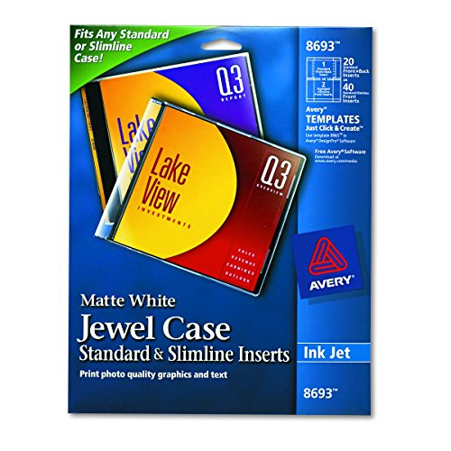 Avery CD/DVD Jewel Case Inserts for Ink Jet Printers, White, Pack of 20  (8693) (Cd Jewel Case Design)